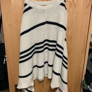 Aqua white and black striped poncho-styled sweater